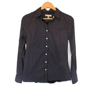 Banana Republic non-iron polkadot shirt black top